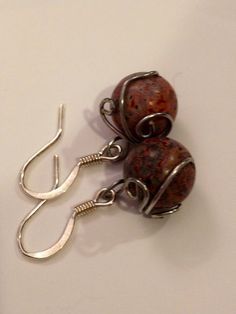 Natural stone and wire art dangle earrings by daretodangle on Etsy, $9.95