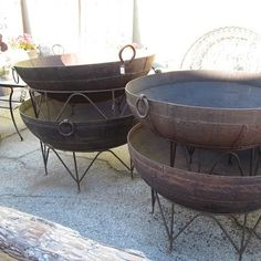 Iron Kadai Fire Bowl with Iron Stand.  Outdoor fire bowl to be used as a fire pit or planter.  Very unique! Los Angeles - MIXfurniure.com