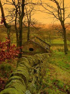 Ancient Stone Wall, Lancashire, England.