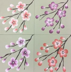 Create different looks by changing the colours you use and changing the side you paint the white on. Here is our Series 2 oriental blossom painting in four different ways. You can folk it kits available from www.folkit.co