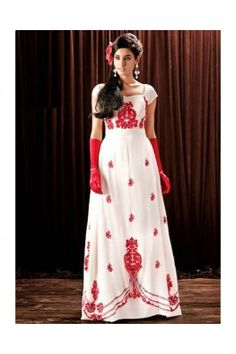 Charming White Color Georgette Gown Party Gowns Online, Wedding Gowns Online, Indian Designer Outfits, Designer Dresses, Party Wear Dresses, Formal Dresses, Wedding Dresses, Ethnic Gown, Anarkali Gown