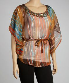 Take a look at this Orange & Brown Streaked Tunic - Plus by Life and Style Fashions on #zulily today!