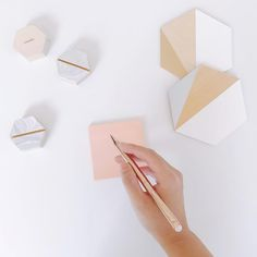 Hand-painted geometric coasters and place card holders. Made by esselle SF. Rustic Coasters, Modern Coasters, Cute Coasters, Modern Placemats, Ceramic Coasters, Ceramic Design, Wood Design, Ceramic Decor, Coaster Design