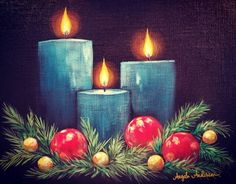 Christmas Candles and Ornaments Free Acrylic Painting Tutorial by Angela Anderson on YouTube #Christmas #candles