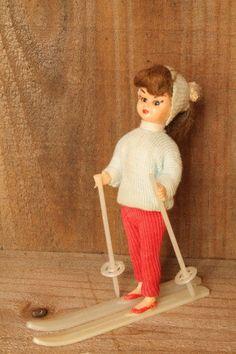 Vintage Doll on Skis by BazaarCabotine on Etsy