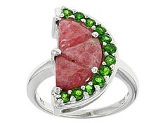 Princess Kylie Clear Cubic Zirconia Red Coated Flower Design Ring Rhodium Plated Sterling Silver