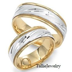 His & Hers Wedding Rings,10K Two Tone Gold Matching Wedding Bands,Womens Wedding Rings,His and Hers Matching Bands Set,Mens Wedding Rings by TallieJewelry on Etsy