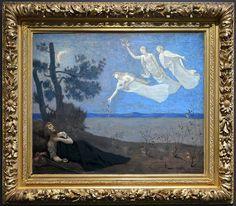 O Sonho (1883) Pierre Puvis de Chavannes - Museu d'Orsay Quando o sonho de Pierre Puvis de Chavannes foi apresentado no Salão dos Artistas Franceses de 1883, o folheto que acompanhava a exposição explicava o tema representado: Ele vê em seu sono, o amor, a glória e a riqueza que lhe aparecem. Sob o luar, um homem jovem, provavelmente viajante como sugere a trouxa ao seu lado, adormeceu ao pé de uma árvore. Três mulheres jovens aparecem para ele em um sonho, voando no céu noturno: a pri...
