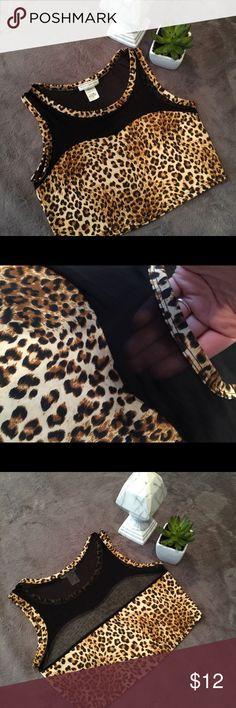 Crop top Cheetah print, leopard print mesh black see through shirt. Super cute. Never worn!! Body Central Tops Crop Tops