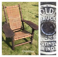 Old Hickory RARE Westport Chair, large oak paddle arms, lean back style, all original with rattan skip weave, signed with original Bruce tag ca. 1933. Available, Christibys