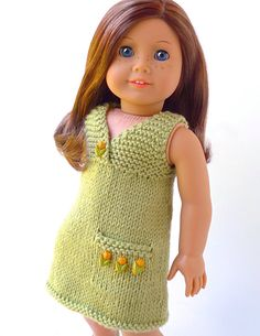 Doll clothes knitting pattern PDF for 18 inch American Girl type doll (AG doll): Summer Sun Dress