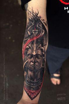 Lord Shiva-Kali Tattoo by Sunny Bhanushali at Aliens tattoo India Buddha Tattoo Design, Shiva Tattoo Design, Buddha Tattoos, Body Art Tattoos, Sleeve Tattoos, Time Tattoos, Kali Tattoo, Ganesha Tattoo Sleeve, Hindu Tattoos