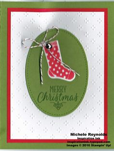 Handmade Christmas card using Stampin' Up! products - Hang Your Stocking Photopolymer Set, Fancy Frost Specialty Designer Series Paper, Stitched Shapes Framelits, Christmas Stockings Thinlits, Candy Cane Lane Baker's Twine, and Mini Jingle Bells.  By Michele Reynolds, Inspiration Ink.