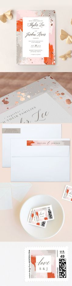 Foil pressed wedding invitation with several matching accessories like postage stamps, rsvp, save the date, thank you cards, menu, direction... by MySplendidSummer at minted