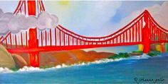 San Francisco's Golden Gate Bridge. Oil Painting.