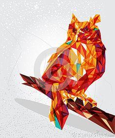Ejemplo geométrico del pájaro del búho.