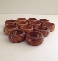 Vintage Midcentury Set of Twelve 12 Carved Wood by Relikology