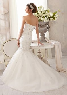 Bridal Dress From Blu By Mori Lee Dress Style 5215 Sparkling Allover Crystal Beading on Tulle