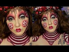 For all of you festive peppermint / candy cane and chocolate lovers, here is a cute makeup tutorial that mixes the two! Using body paint to create yourself i. Movie Makeup, Clown Makeup, Amazing Halloween Makeup, Amazing Makeup, Christmas Face Painting, Jordan Hanz, Christmas Makeup Look, Horror Makeup, Winter Makeup