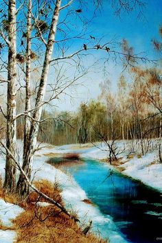 Whenever we manage to love without expectations, calculations, negotiations, we are indeed in heaven. Watercolor Trees, Watercolor Landscape, Landscape Art, Landscape Paintings, Winter Scenery, Winter Trees, Quotes About Photography, Nature Photography, Bob Ross Paintings