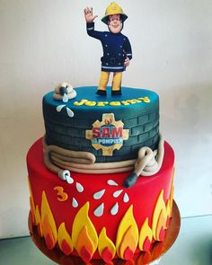 Firefighter Birthday Cakes, Thomas Birthday Cakes, Luau Birthday, Baby Girl Christening Cake, Fire Engine Cake, Fireman Sam Cake, Fire Fighter Cake, Novelty Cakes, Cakes For Boys
