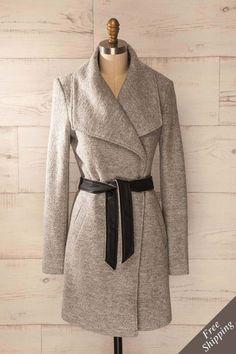 Lulea Stone - Grey mid-length wool coat