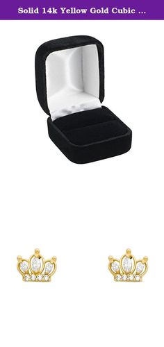 Solid 14k Yellow Gold Cubic Zirconia Crown Stud Earrings Screw-Back. Solid 14k Yellow Gold Cubic Zirconia Crown Stud Earrings Screw-Back. Width: 10 mm; Height: 8 mm; Weight Range: 0.7 - 1 Grams. Guaranteed 14K Solid Gold; Authenticated with a 14K Stamp. Product Enclosed in Black Velvet Gift Box. Ships Same Day if Order Received by 4:00 PM Central USA; Free First Class Shipping Includes Tracking. 30-Day, Hassle-Free, Full Money Back Guarantee; Contact Us to Process a Return and Receive a...