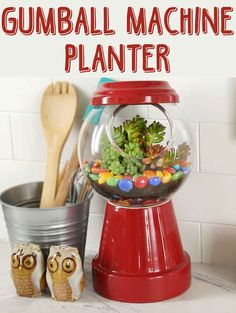 Brighten Up Your Home With This Adorable Gumball Machine Planter - could also serve as a candy dish