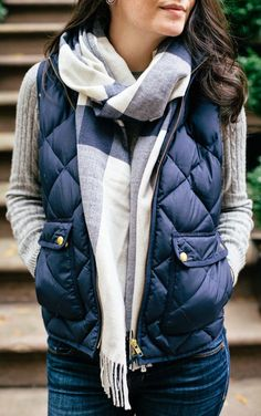fall outfit ideas / plaid scarf + navy vest