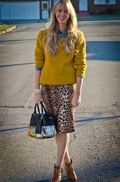 Leopard skirt styling