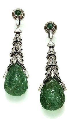 Cartier Paris Art Deco Emerald Onyx Diamond Earrings 1924. Image Clive Kandel Cartier Collection.