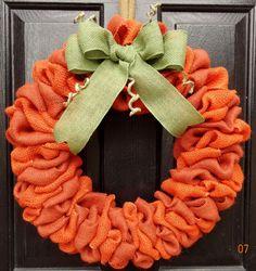 Burlap Pumpkin Wreath - Fall wreath, Pumpkin wreath, burlap fall wreath, Thanksgiving pumpkin wreath, Thanksgiving burlap wreath via Etsy
