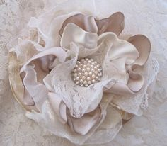 Ivory and Champagne Multi Fabric and Textures by theraggedyrose, $28.95