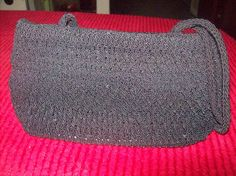 Black Bag, Cosmetic Bag, Crochet Bag, Purse by vintagecitypast on Etsy
