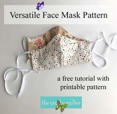 This Versatile Face Mask pattern and tutorial includes a pocket to insert a filter, optional nose gaurd instructions and several tie options.<br> Beginner Sewing Patterns, Sewing Patterns For Kids, Sewing For Beginners, Sewing For Kids, Free Sewing, Pattern Sewing, Diy Mask, Diy Face Mask, Face Masks