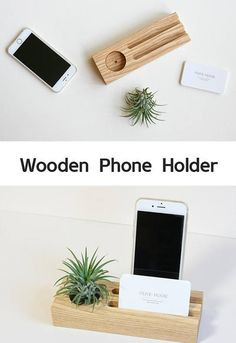 Ash Wood Phone or Tablet stand Business Card holder Air plant holder This holder is made from ash wood and finished with a natural oil. The wooden phone holder can dock both cell phone and tablet. Also, It has a special tray for the coins, keys and oth Diy Phone Stand, Tablet Stand, Wooden Phone Holder, Cell Phone Holder, Support Telephone, Woodworking Shows, Business Card Holders, Business Cards, Plant Holders