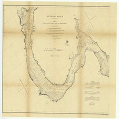 18 x 24 inch 1863 US old nautical map drawing chart of Potomac River in Four Sheets, Sheet Number 3 from Lower Cedar Point to Indian Head From U.S. Coast Survey x4043