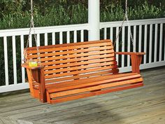 With built-in cup holders and a contoured seat and back, our porch swing woodworking project offers outdoors relaxation and comfort. Woodworking Table Plans, Woodworking Projects, Youtube Woodworking, Woodworking Furniture, Teds Woodworking, Outdoor Rooms, Outdoor Decor, Outdoor Kitchens, Outdoor Living