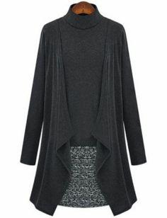 Robe en tweed contrastée -Gris foncé  pictures