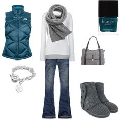 Not a fan of the vest, but love everything else. Maybe work the blue in with a belt and jewelry?