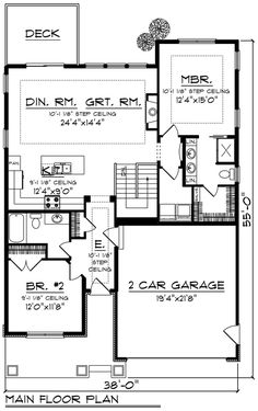 Craftsman Style House Plan - 2 Beds 2 Baths 1334 Sq/Ft Plan #70-1259 Floor Plan - Main Floor Plan - Houseplans.com