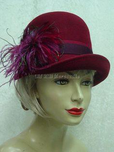 Burgundy cloche 1920s 1930s Downton Abbey Lady Mary style felt hat #Scala #Cloche