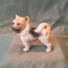 Porcelain Keeshond Dog Figurine. Made in by NewToYouVintageZoo