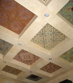 Royal Design Studio Tastefully Decorated The Floor And Ceiling Of Their Lunch Room With Stenciled Tile Patterns From Spain Portugal Cuba