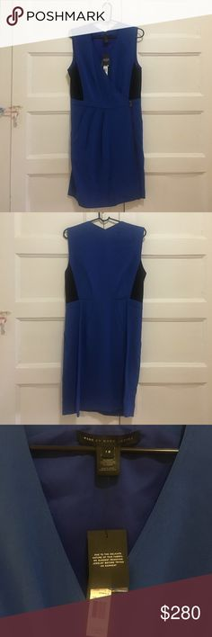 Marc by Marc Jacobs Anya Crepe Sleeveless Dress Anya Crepe Sleeveless dress in Zipher Blue, size 12. Visible front side zipper, color block at sides, AND POCKETS! A beautiful and professional dress, perfect for spring. Marc by Marc Jacobs Dresses