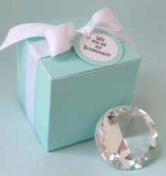 Diamond-Shaped Paperweight in Tiffany Blue Box (Will You Be My Bridesmaid?)