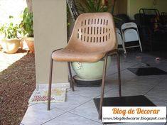"""Blog de Decorar: Passo-a-passo: """"Minha"""" Primeira Cadeira Restaurada com Tecido e Cola"""