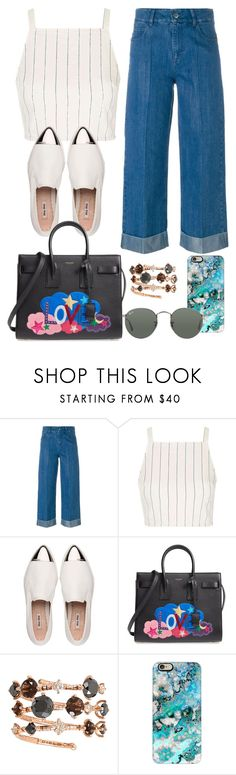 """Untitled #1154"" by directionermixer01 ❤ liked on Polyvore featuring Each X Other, Topshop, Miu Miu, Yves Saint Laurent, Mattia Cielo, Casetify and Ray-Ban"