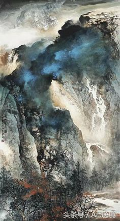 Asian Landscape, Chinese Landscape Painting, Landscape Drawings, Chinese Painting, Abstract Landscape, Landscape Paintings, Waterfall Paintings, Seascape Paintings, Japan Painting