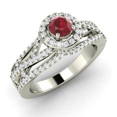.96 Ct Natural Ruby Halo Engagement Ring in Solid 14k White Gold with SI Diamond | eBay